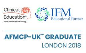 Clinical Education logo, IFM Educational Partner logo, AFMCP-UK Graduate London 2018 logo
